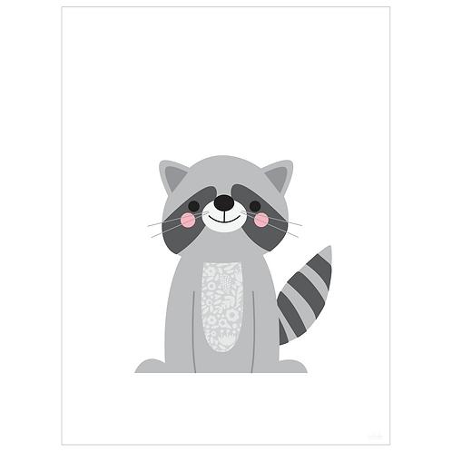 raccoon art print - white - digital download