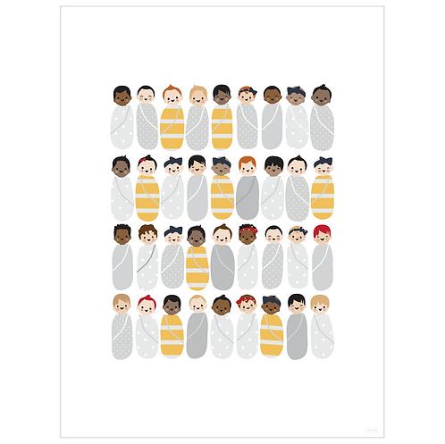 babies art print - white - digital download