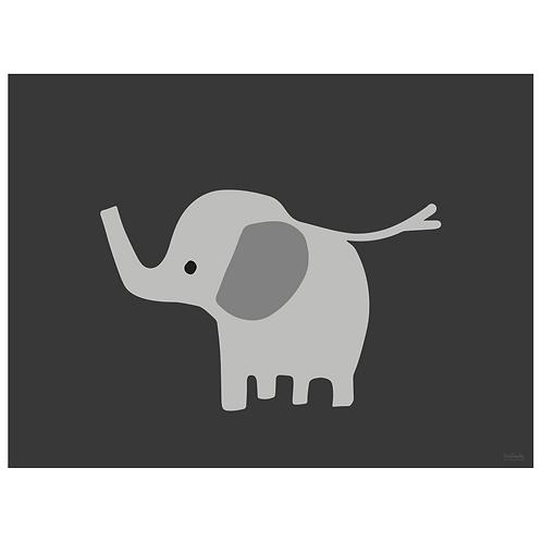 baby elephant art print - dark charcoal - digital download
