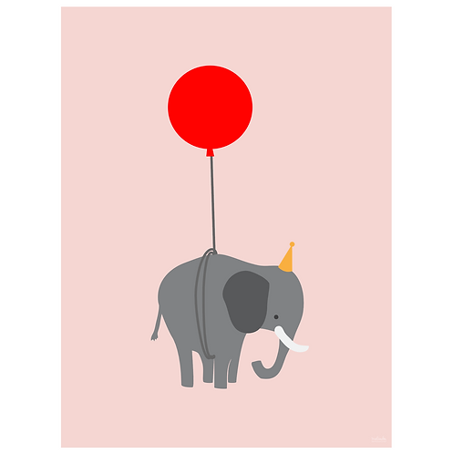 elephant on balloon art print - pink - digital download