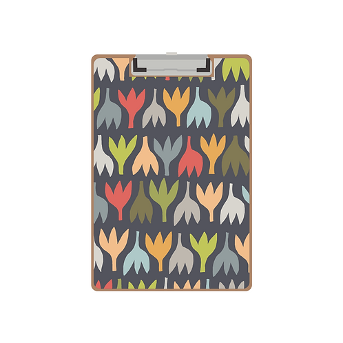 CLIPBOARD navy primitive tulips pattern