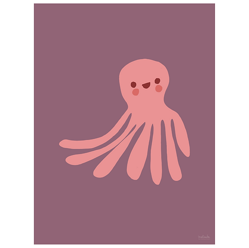 octopus art print - grape - digital download