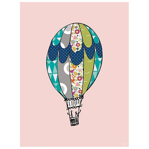 hot air balloon art print- pink - digital download