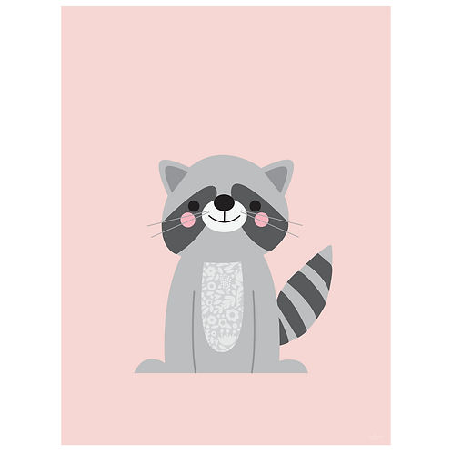 raccoon art print - pink - digital download