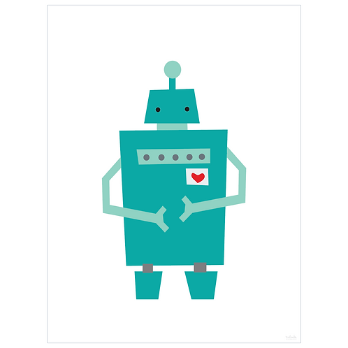 block robot art print - white - digital download