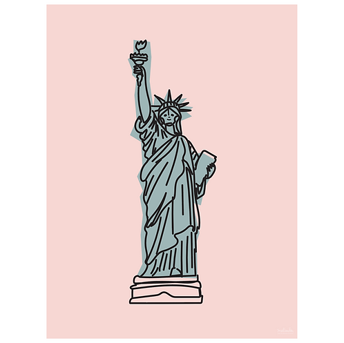 statue of liberty art print - pink - digital download