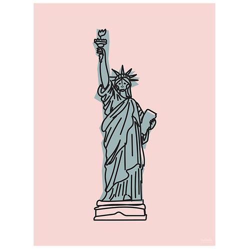 statue of liberty art print - pink - digital download