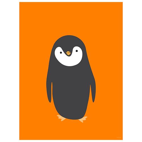 penguin art print - orange - digital download