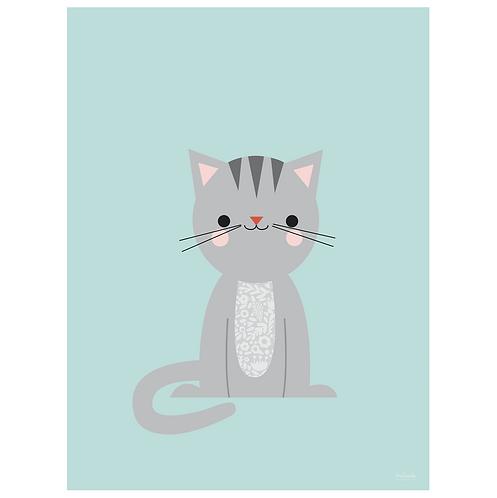 calico cat art print - powder blue - digital download