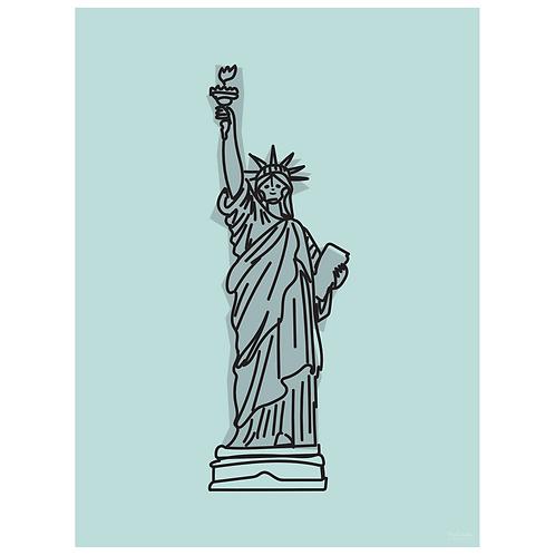 statue of liberty art print - powder blue - digital download