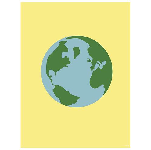 world globe art print - yellow - digital download