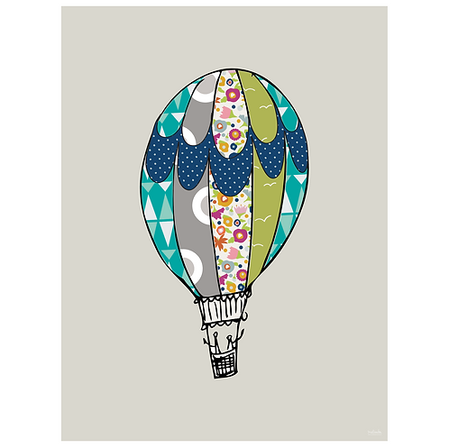hot air balloon art print - grey - digital download