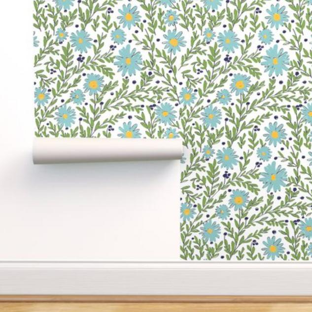 melimba BLUE DAISIES wallpaper