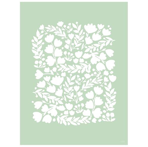 floral cutout art print - mint - digital download