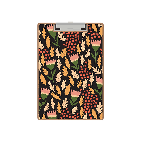 CLIPBOARD black king tulip pattern