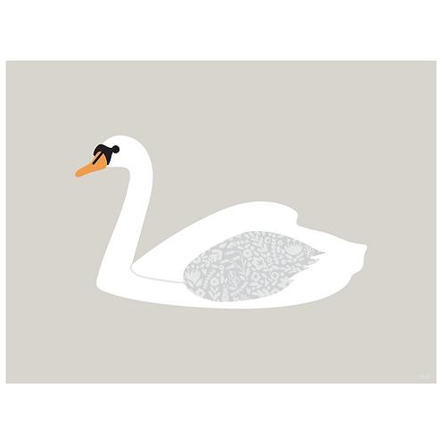 swan art print - grey -  digital download