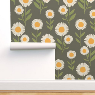 melimba DAISY STEMS green wallpaper
