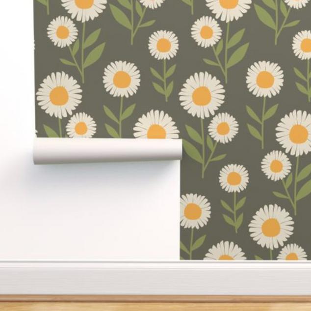 melimba DAISY STEMS green wallpaper