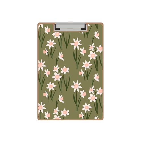 CLIPBOARD daffodil green pattern