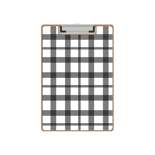 CLIPBOARD black gingham twist pattern