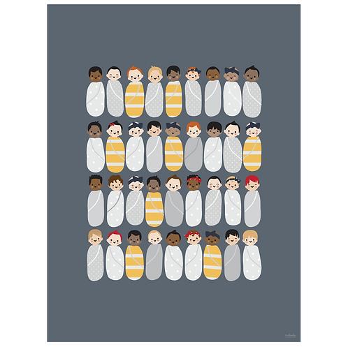 babies art print - grey navy - digital download