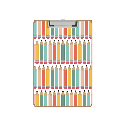 CLIPBOARD colorful pencils white pattern