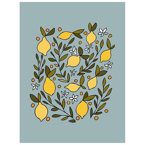 lemon blossom art print - robin egg blue - digital download