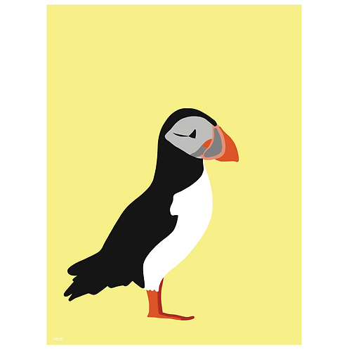 puffin art print - yellow - digital download