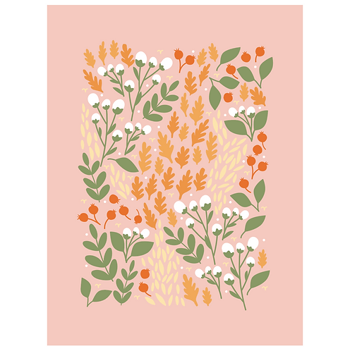 pom and cotton floral - salmon