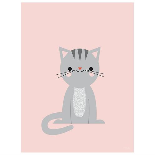 calico cat art print - pink - digital download