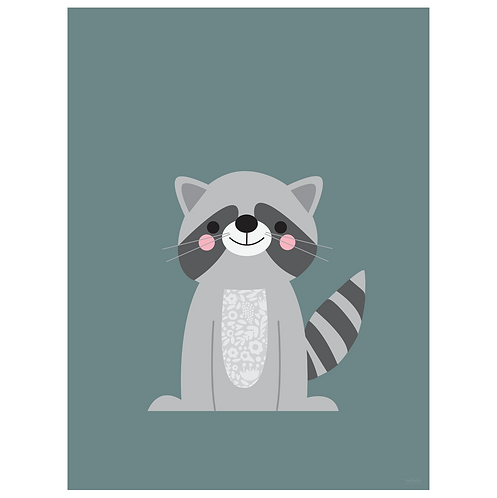 raccoon art print - blue grey - digital download