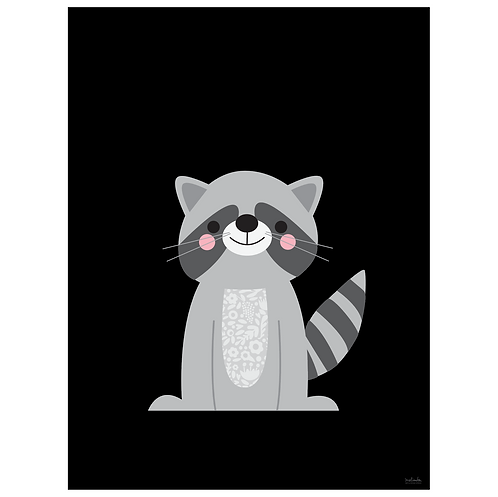 raccoon art print - black - digital download