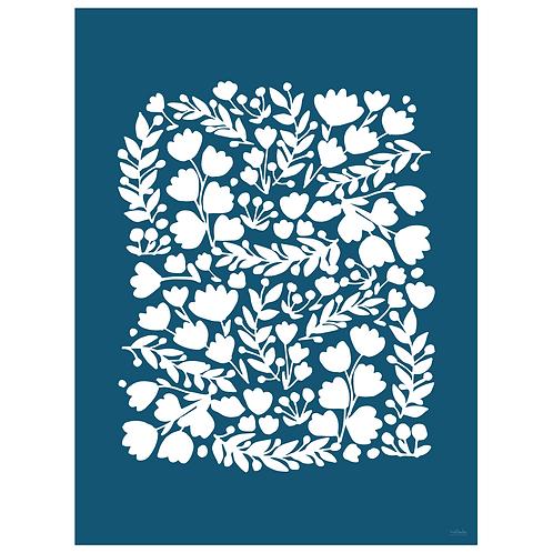 floral cutout art print - navy - digital download