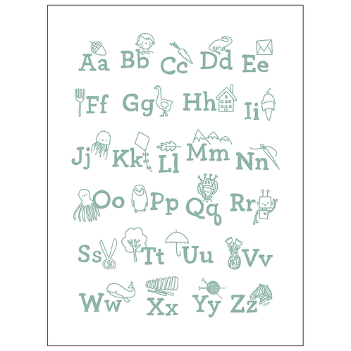 ABCs art print - seafoam on white - digital download