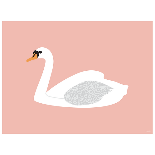 swan art print - salmon - digital download