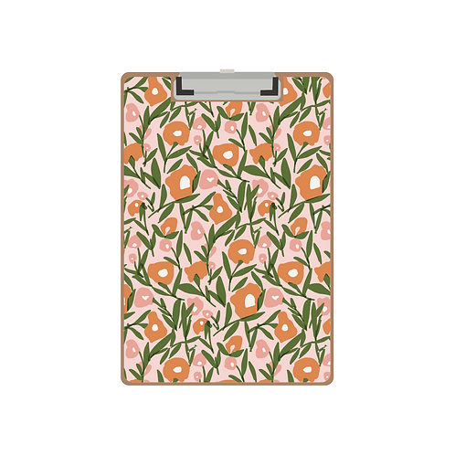 CLIPBOARD pink & orange poppies on pink pattern