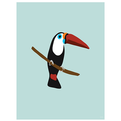 toucan art print - powder blue - digital download