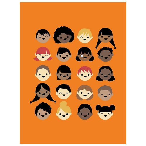 kid faces - orange