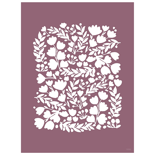 floral cutout art print - grape - digital download