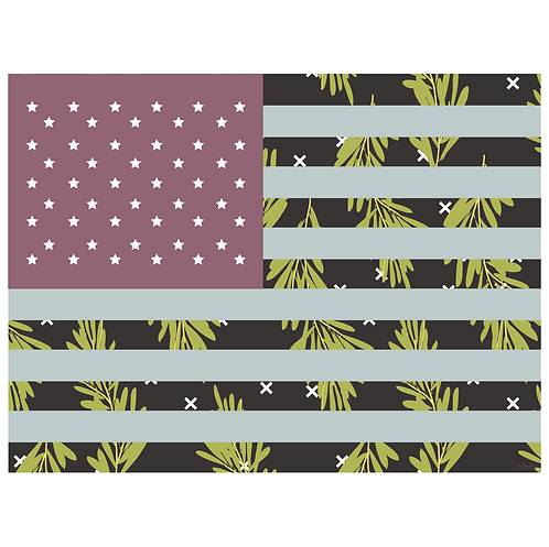 flag art print - rosemary black purple - digital download