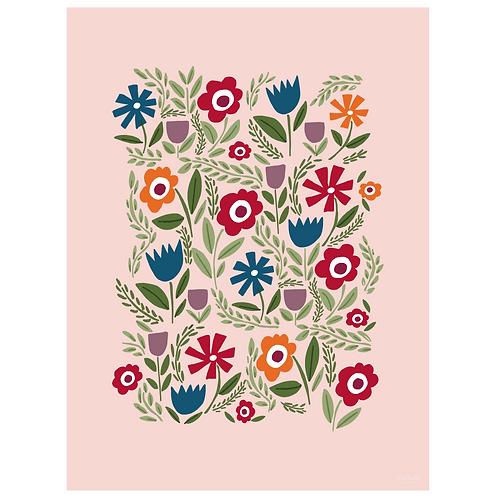folk floral art print - primary on pink - digital download