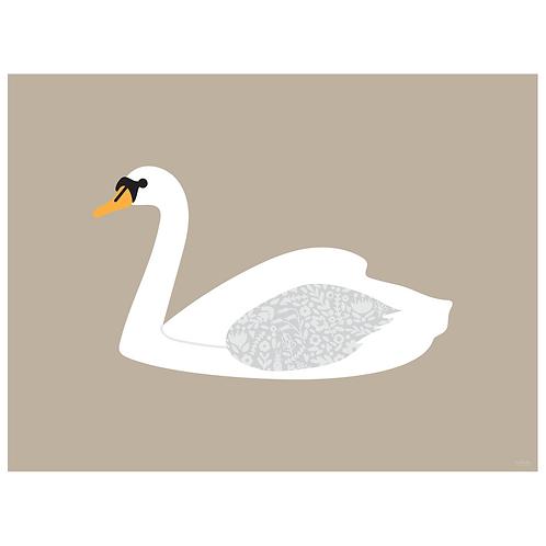 swan art print - kraft - digital download