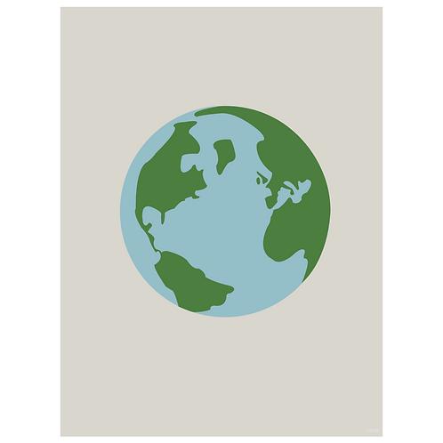world globe art print - grey - digital download