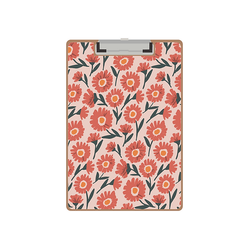 CLIPBOARD flying daisies pink pattern