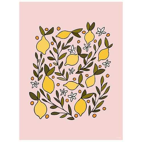 lemon blossom art print - pink - digital download