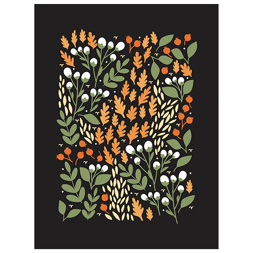 pom and cotton floral - black