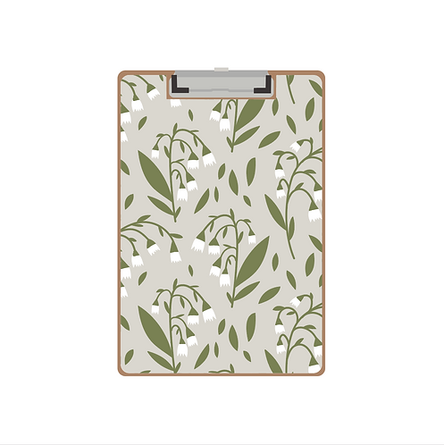 CLIPBOARD lilies of the valley on grey pattern