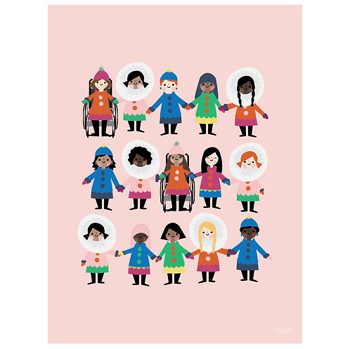 girl power art print - pink - digital download