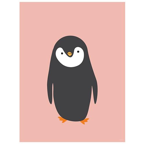 penguin art print - salmon - digital download
