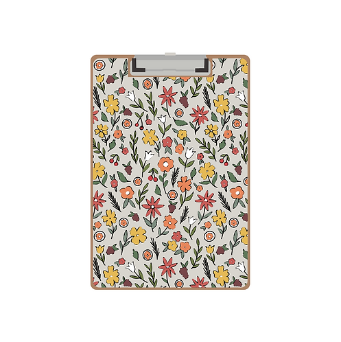 CLIPBOARD grey late summer floral pattern